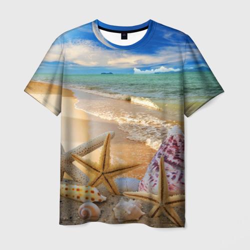 Мужская футболка 3D Морской пляж 2
