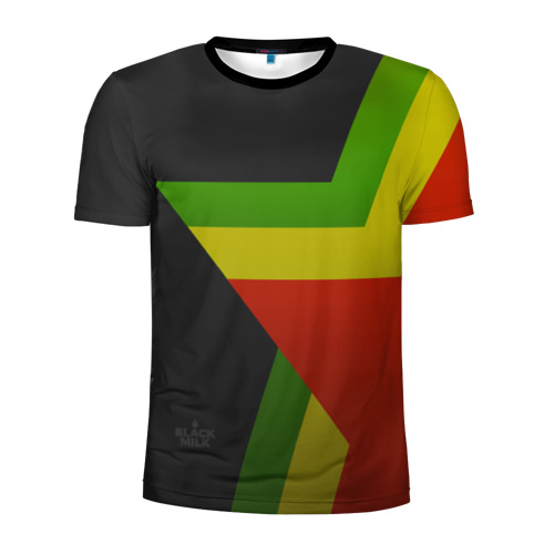Мужская футболка 3D спортивная Black Milk Black Rasta Star