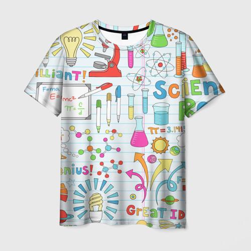 Мужская футболка 3D Стикеры Наука