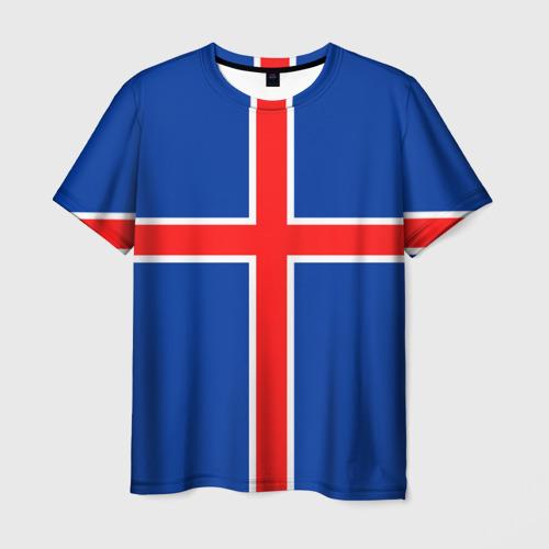 Мужская футболка 3D Флаг Исландии