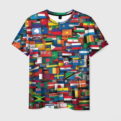 Мужская футболка 3D Флаги всех стран